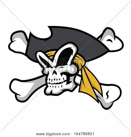 Pirate Skull with Bandanna Crossbones Logo Vector Illustration