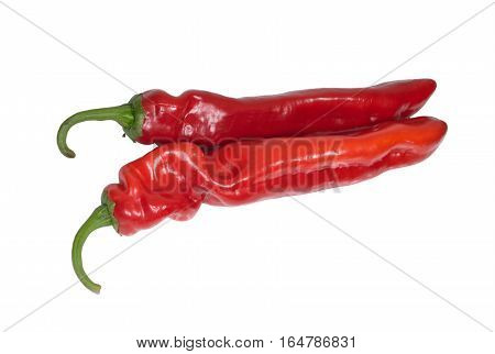 Two fresh ripe appetizing sweet red hot chili pepper isolated on white background