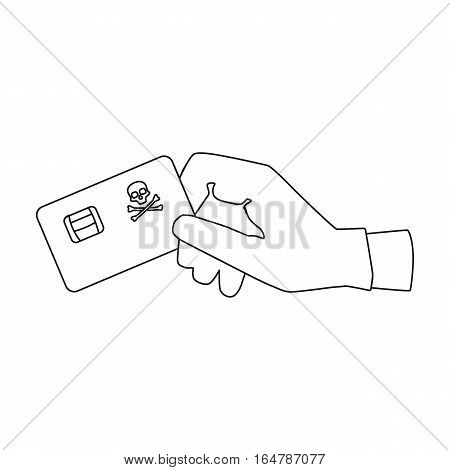 Credit card fraud icon in outline design isolated on white background. Hackers and hacking symbol stock vector illustration.