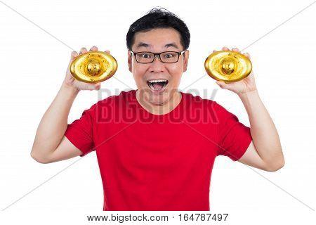 Happy Asian Chinese Man Wearing Red Shirt Holding Ingot