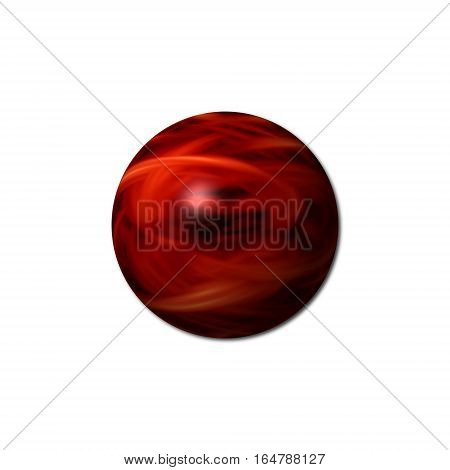 Red flame sphere with a white background.