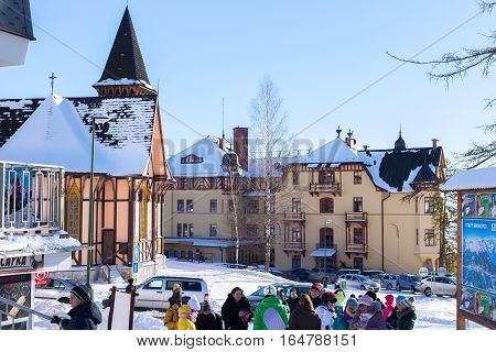 SLOVAKIA STARY SMOKOVEC - JANUARY 06 2015: Center of the Stary Smokovec in High Tatras mountains. Is a popular resort for skiing and hiking at an altitude of 990 m a.s.l.