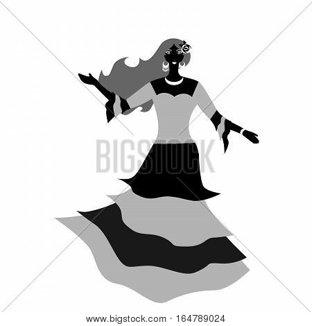 the illustration of a beautiful woman - flamenco dancer.
