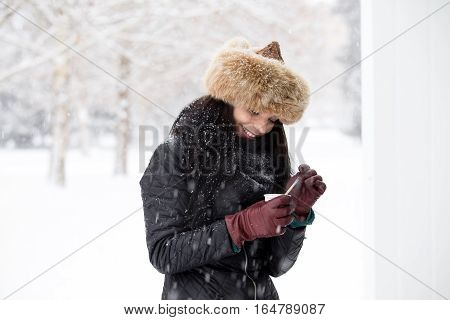 Winter Woman Drinking Hot Tea