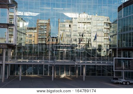 Reflections in the glass front from the town hall in Koksijde