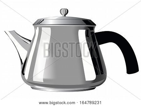 Metal teapot with black handle and reflection stripes - vector illustration