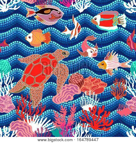 Fishes, tortilla and corals on seaweed background. Marine textile collection. Tropical ocean.