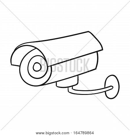 Security camera icon in outline design isolated on white background. Supermarket symbol stock vector illustration.