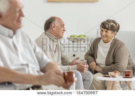 Seniors Enjoying Common Conversation