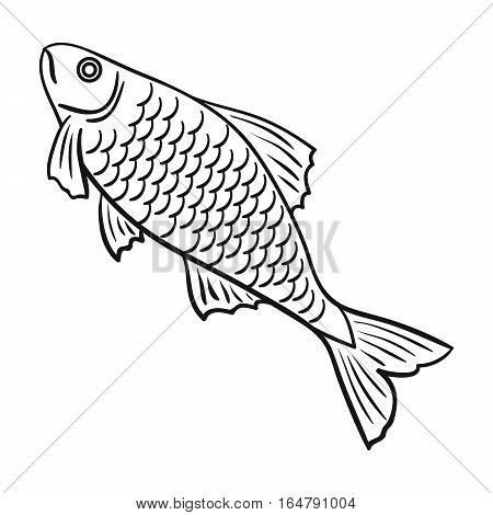 Fish icon in outline design isolated on white background. Fishing symbol stock vector illustration.