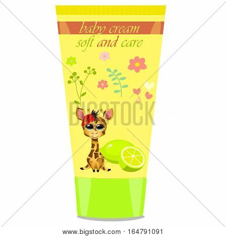 High quality original trendy vector Baby cream tube with kids design and giraffe, lime illustration