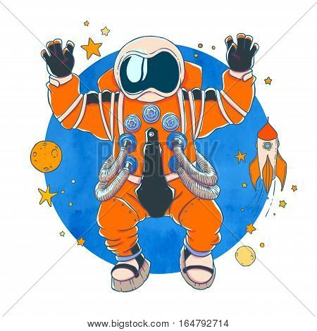 Illustration of an astronaut in orange space suit and helmet with arms raised in greeting and hands with open palms. Behind watercolor texture space. Vector drawing isolated on white background. T-shirt printing.