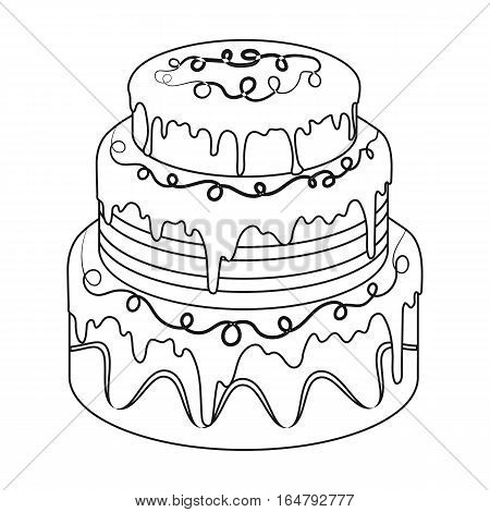 Blue three-ply cake icon in outline design isolated on white background. Cakes symbol stock vector illustration.