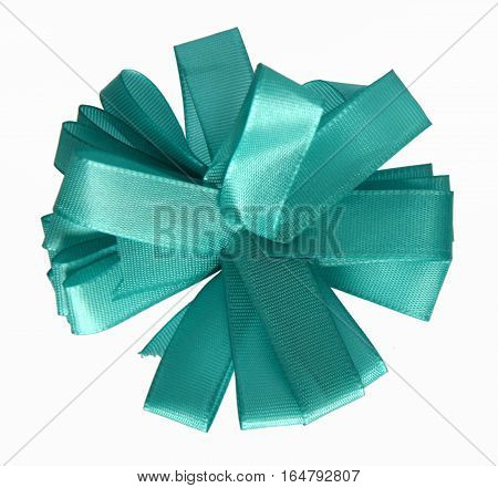 Azure ribbon bow in the shape of cornflower isolated on white background