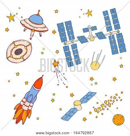 Illustration of space objects, UFO, flying saucer, satellite, rocket, stars, asteroid belt, space station, spaceship, comet and planet. Vector drawing isolated on white background.