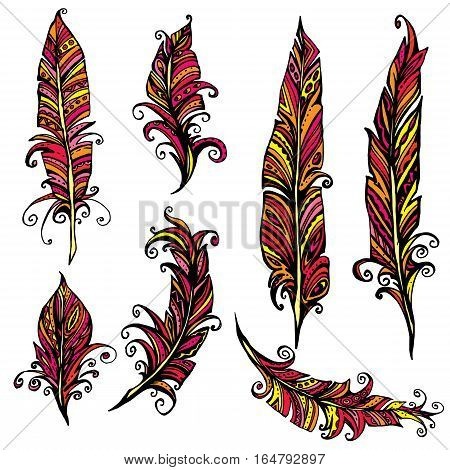 Set of ornamental Feather tribal design. Ink hand drawn illustration with different indian feathers in red and yellow colors.