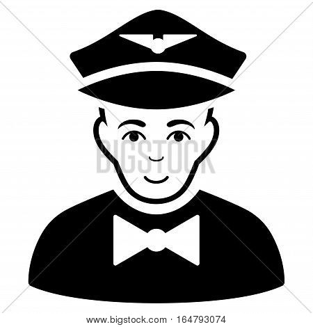 Airline Steward vector icon. Flat black symbol. Pictogram is isolated on a white background. Designed for web and software interfaces.