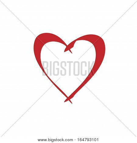 Heart isolated. Red sign on white background. Romantic silhouette symbol linked join love passion and wedding. Colorful mark of valentine day. Design element. Vector illustration