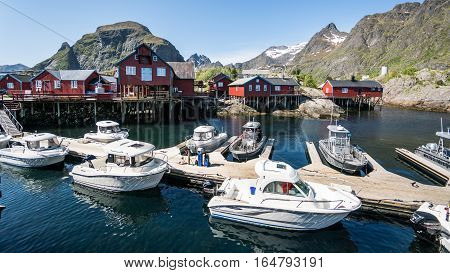 Reine, Norway - June 2, 2016: Scenery from Reine, a famous fishing village in Norway