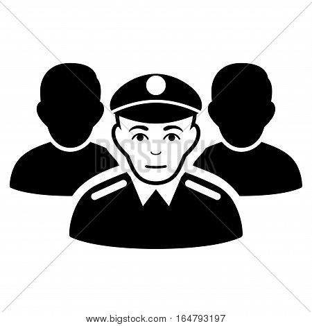 Army Team vector icon. Flat black symbol. Pictogram is isolated on a white background. Designed for web and software interfaces.