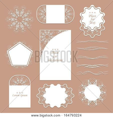 A set of lacy napkins. It can be used as frames, design for tags. Separators for registration of your ideas. Vector illustration.