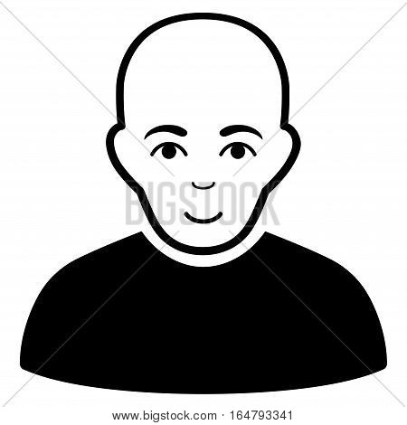 Bald Man vector icon. Flat black symbol. Pictogram is isolated on a white background. Designed for web and software interfaces.