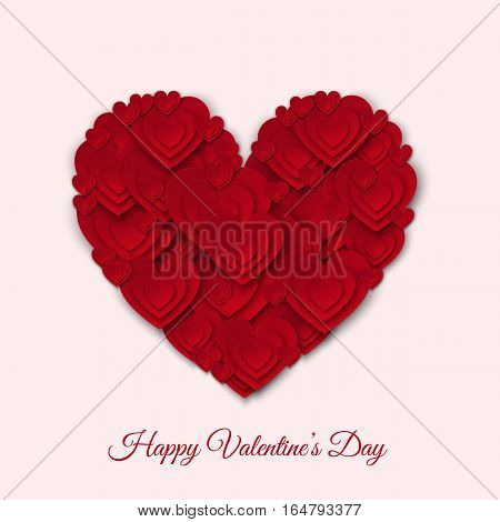 Happy Valentines day card with big red paper heart. Vector illustration for party invitation flyer banners greeting postcard save the date card templates.