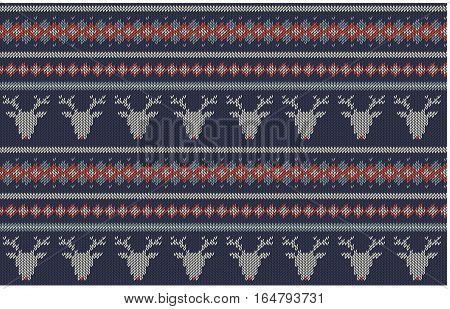 Seamless knitted  texture on blue background with deers. Colorful striped background. Can be used as scheme of knitting sweaters, pattern patchwork, wallpaper, web project, etc.  Horizontal.