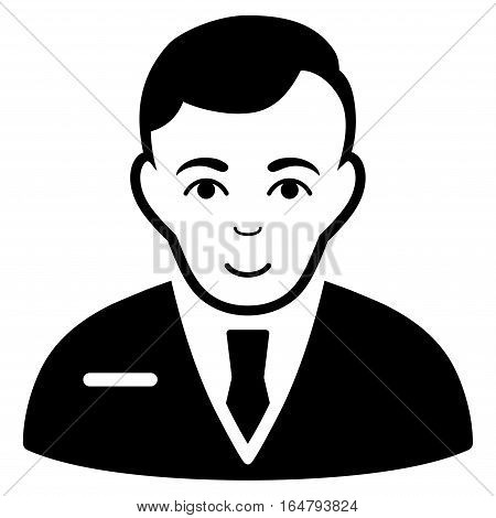 Businessman vector icon. Flat black symbol. Pictogram is isolated on a white background. Designed for web and software interfaces.