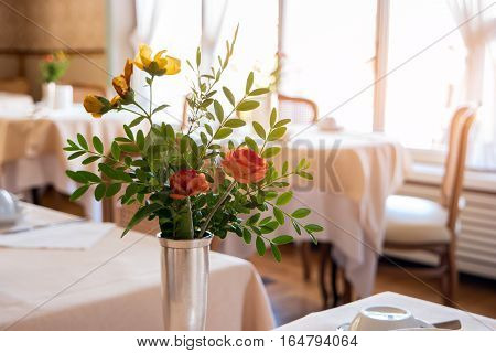 Flowers in vase and sunlight. Interior of food joint. Cozy European restaurant.