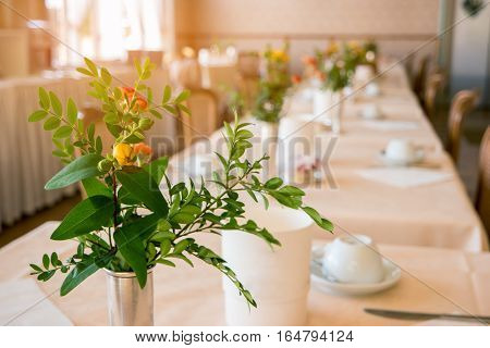 Flowers and leaves in vase. Blurred interior of restaurant. Tasty food and good hospitality.