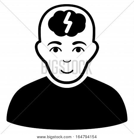 Clever Boy vector icon. Flat black symbol. Pictogram is isolated on a white background. Designed for web and software interfaces.