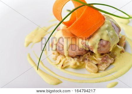 Meatloaf With White Sauce.