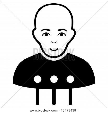Cyborg Interface vector icon. Flat black symbol. Pictogram is isolated on a white background. Designed for web and software interfaces.