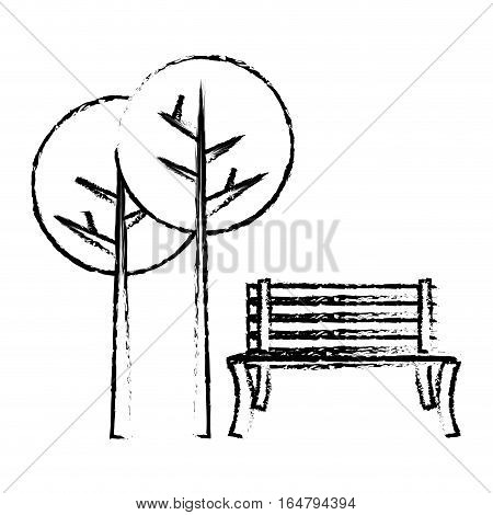 oudoors bench and trees  icon image vector illustration design