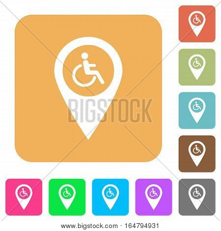 Disability accessibility GPS map location flat icons on rounded square vivid color backgrounds.