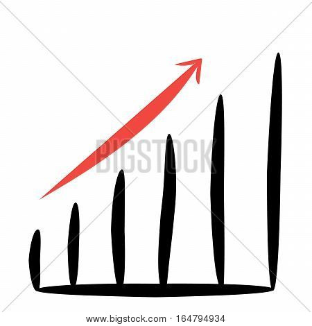 business graph with a red arrow up on white background of vector illustrations