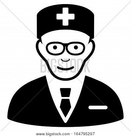 Head Physician vector icon. Flat black symbol. Pictogram is isolated on a white background. Designed for web and software interfaces.