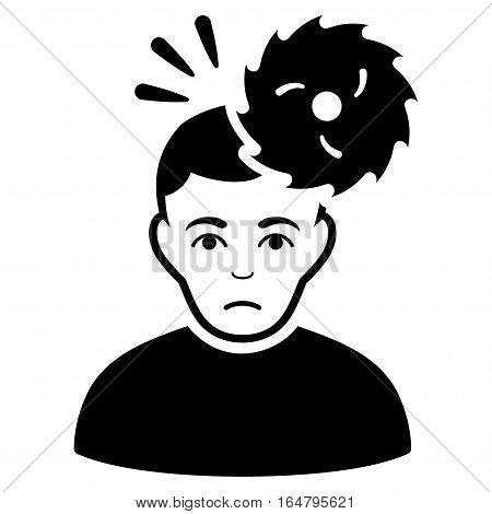 Headache vector icon. Flat black symbol. Pictogram is isolated on a white background. Designed for web and software interfaces.