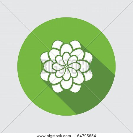Flower icon. Dahlia, aster, daisy, chrysanthemum, gowan. Summer, autumn floral symbol. Round green flat sign with long shadow. Vector isolated.