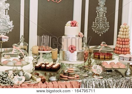 Assortie Of The Sweets And Desserts On The Wedding