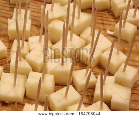 Fresh Cheese Tastings With Toothpicks In The Cheese Shop