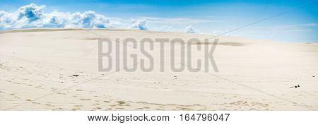 Panoramic photo of sand dune summer hot beach