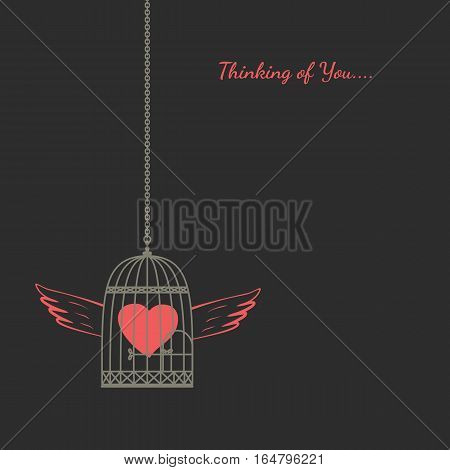Romantic love poster. Red heart flying in bird cage with wings. Freehand drawn fancy cartoon style. Vector vintage greeting card template with Valentine day symbol, lovers weeding banner background