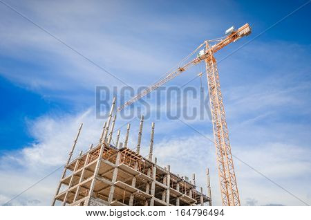 Multistorey building and construction works/High-rise houses and column crane
