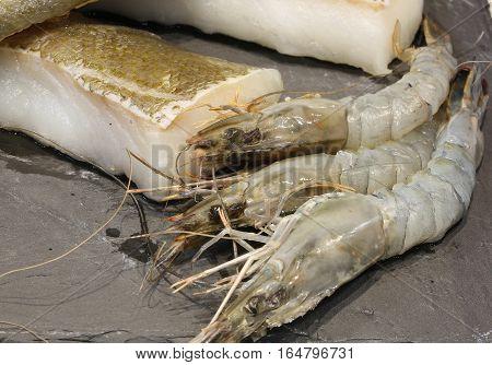 Raw Shrimp With Little Piece Of Flatfish