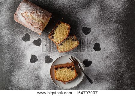Heart shaped and sliced cake. Stolen love.