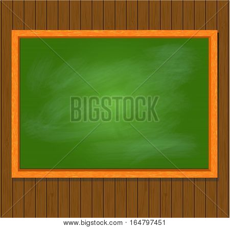 Greenboard with wood frame on brown wooden plank background. Vector illustration.