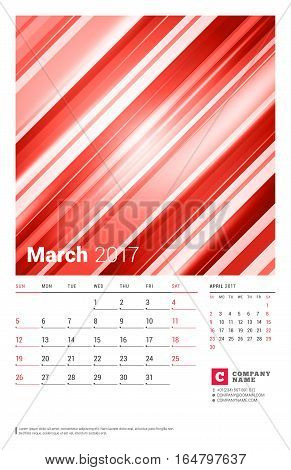 March 2017. Wall Monthly Calendar For 2017 Year. Vector Design Print Template With Abstract Red Back