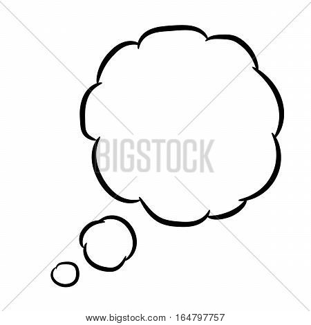 Cloud thought round on white background of vector illustrations